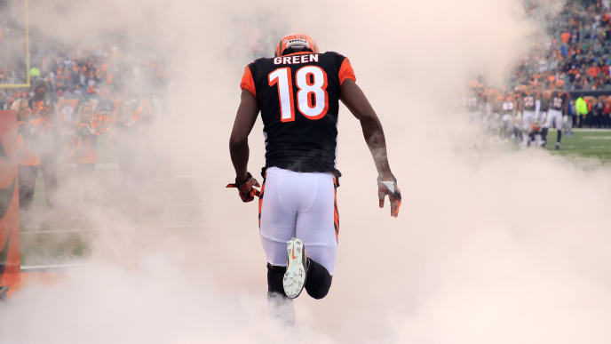 CINCINNATI, OH - OCTOBER 28: A.J. Green #18 of the Cincinnati Bengals runs onto the field before the game against the Tampa Bay Buccaneers at Paul Brown Stadium on October 28, 2018 in Cincinnati, Ohio.  (Photo by Andy Lyons/Getty Images)