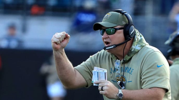 JACKSONVILLE, FLORIDA - DECEMBER 01: Head coach Doug Marrone of the Jacksonville Jaguars reacts to a touchdown during the game against the Tampa Bay Buccaneers at TIAA Bank Field on December 01, 2019 in Jacksonville, Florida. (Photo by Sam Greenwood/Getty Images)