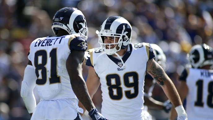 LOS ANGELES, CALIFORNIA - SEPTEMBER 29:  Tight end Gerald Everett #81 and tight end Tyler Higbee #89 of the Los Angeles Rams celebrate a touchdown during the second quarter against the Tampa Bay Buccaneers at Los Angeles Memorial Coliseum on September 29, 2019 in Los Angeles, California. (Photo by Katharine Lotze/Getty Images)