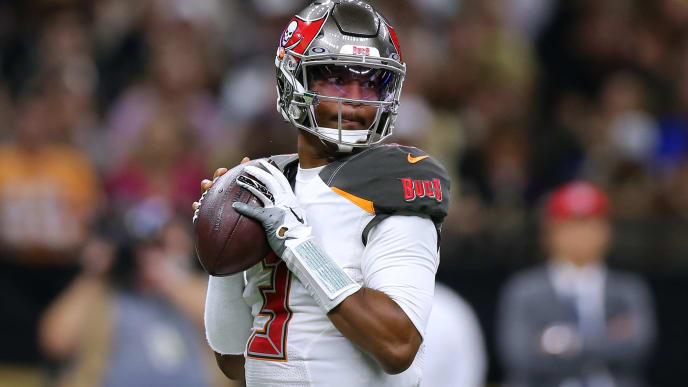 NEW ORLEANS, LOUISIANA - OCTOBER 06: Jameis Winston #3 of the Tampa Bay Buccaneers throws the ball during a game against the New Orleans Saints at the Mercedes Benz Superdome on October 06, 2019 in New Orleans, Louisiana. (Photo by Jonathan Bachman/Getty Images)
