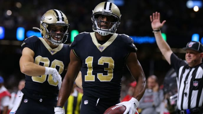 NEW ORLEANS, LOUISIANA - OCTOBER 06: Michael Thomas #13 of the New Orleans Saints celebrates a touchdown during the first half of a game against the Tampa Bay Buccaneers at the Mercedes Benz Superdome on October 06, 2019 in New Orleans, Louisiana. (Photo by Jonathan Bachman/Getty Images)