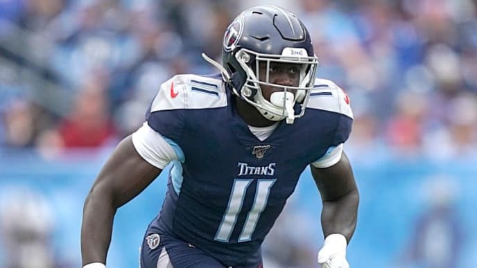 NASHVILLE, TENNESSEE - OCTOBER 27: A.J. Brown #11 of the Tennessee Titans runs toward the ball during the third quarter of the NFL football game Tampa Bay Buccaneers at Nissan Stadium on October 27, 2019 in Nashville, Tennessee. (Photo by Bryan Woolston/Getty Images)