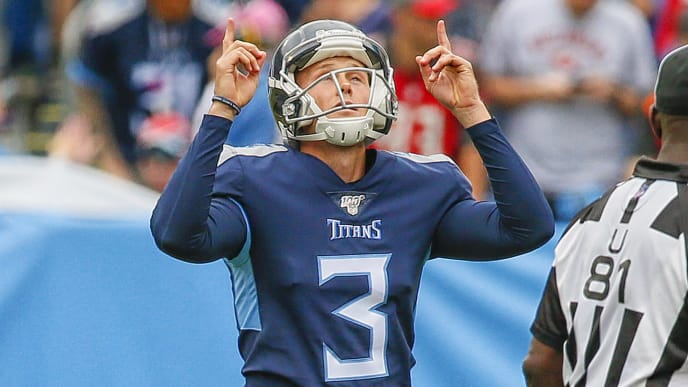 NASHVILLE, TENNESSEE - OCTOBER 27: Cody Parkey #3 of the Tennessee Titans celebrates after making a 51 yard field goal during the first half at Nissan Stadium on October 27, 2019 in Nashville, Tennessee. (Photo by Frederick Breedon/Getty Images)
