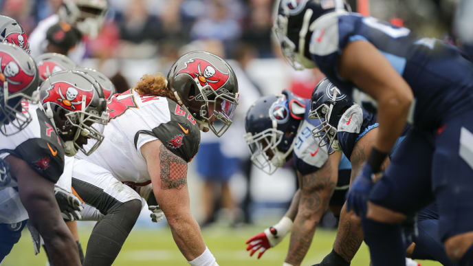 NASHVILLE, TENNESSEE - OCTOBER 27: The Tampa Bay Buccaneers offensive line faces the Tennessee Titans defensive line during the first quarter of the game at Nissan Stadium on October 27, 2019 in Nashville, Tennessee. (Photo by Silas Walker/Getty Images)