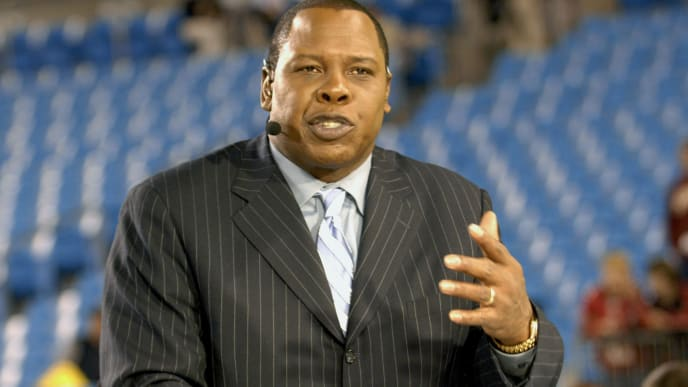 ESPN commentator Tom Jackson  on Monday Night Football Nov. 13, 2006 as the Carolina Panthers host the Tampa Bay Buccaneers in Charlotte.  The Panthers won 24 - 10.  (Photo by Al Messerschmidt/Getty Images)