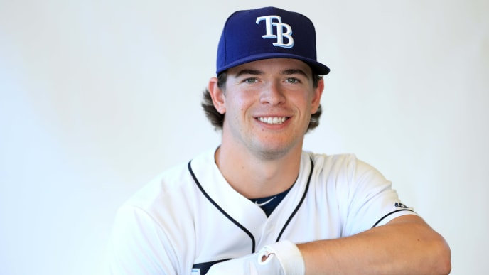 PORT CHARLOTTE, FLORIDA - FEBRUARY 17:  Nick Solak #85 of the Tampa Bay Rays poses for a portrait during photo day on February 17, 2019 in Port Charlotte, Florida. (Photo by Mike Ehrmann/Getty Images)