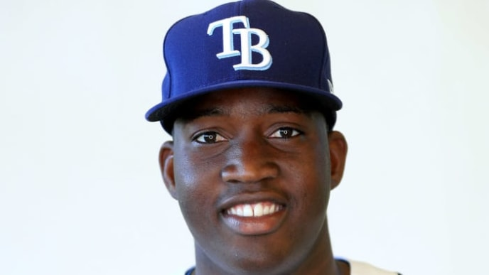 PORT CHARLOTTE, FLORIDA - FEBRUARY 17: Jesus Sanchez #65 of the Tampa Bay Rays poses for a portrait during photo day on February 17, 2019 in Port Charlotte, Florida. (Photo by Mike Ehrmann/Getty Images)