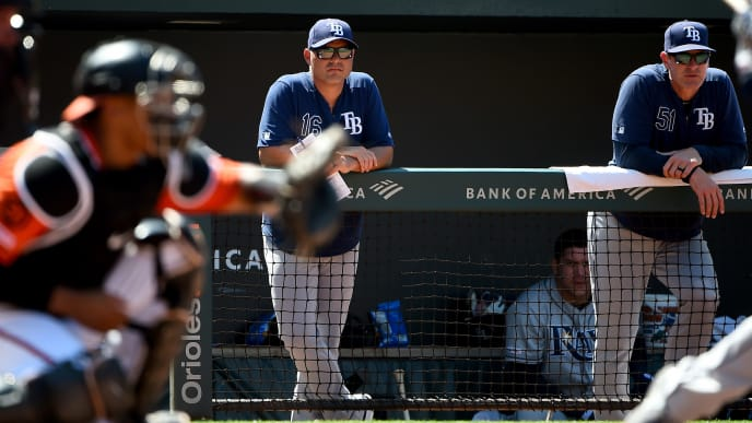 BALTIMORE, MD - JULY 13: Manager Kevin Cash #16 of the Tampa Bay Rays looks on during the game against the Baltimore Orioles during game one of a doubleheader at Oriole Park at Camden Yards on July 13, 2019 in Baltimore, Maryland. (Photo by Will Newton/Getty Images)