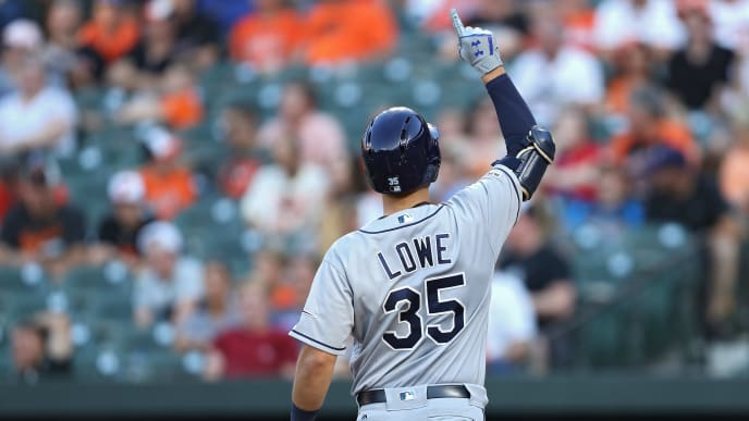 BALTIMORE, MARYLAND - JULY 12: Nate Lowe #35 of the Tampa Bay Rays celebrates his two run home run against the Baltimore Orioles during the second inning at Oriole Park at Camden Yards on July 12, 2019 in Baltimore, Maryland. (Photo by Patrick Smith/Getty Images)