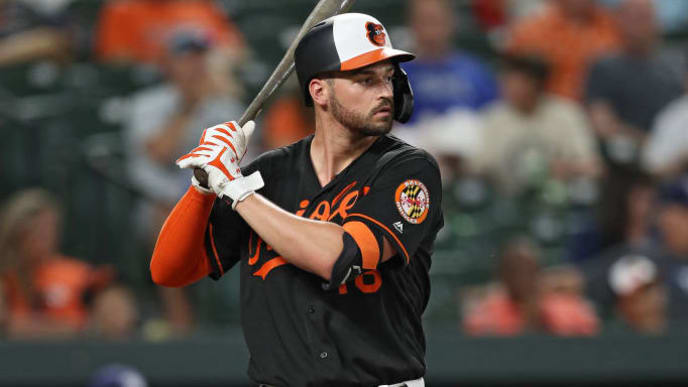 BALTIMORE, MARYLAND - JULY 12: Trey Mancini #16 of the Baltimore Orioles bats against the Tampa Bay Rays at Oriole Park at Camden Yards on July 12, 2019 in Baltimore, Maryland. (Photo by Patrick Smith/Getty Images)