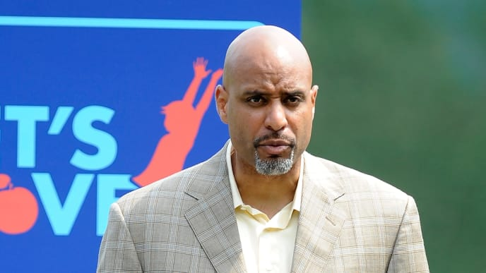 "BALTIMORE - JULY 20:  Tony Clark of the MLB Players Association talks to the local Boys and Girls Club of America and Reviving Baseball in Inner Cities (RBI) programs to promote the ""Let's Move"" campaign at Camden Yards on July 20, 2010 in Baltimore, Maryland.  (Photo by Greg Fiume/Getty Images)"