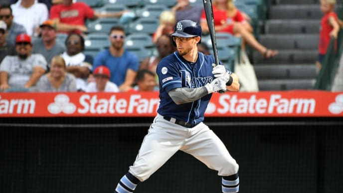 ANAHEIM, CA - SEPTEMBER 15: Eric Sogard #9 of the Tampa Bay Rays at bat against the Los Angeles Angels at Angel Stadium of Anaheim on September 15, 2019 in Anaheim, California. Angels won 6-4.  (Photo by John McCoy/Getty Images)