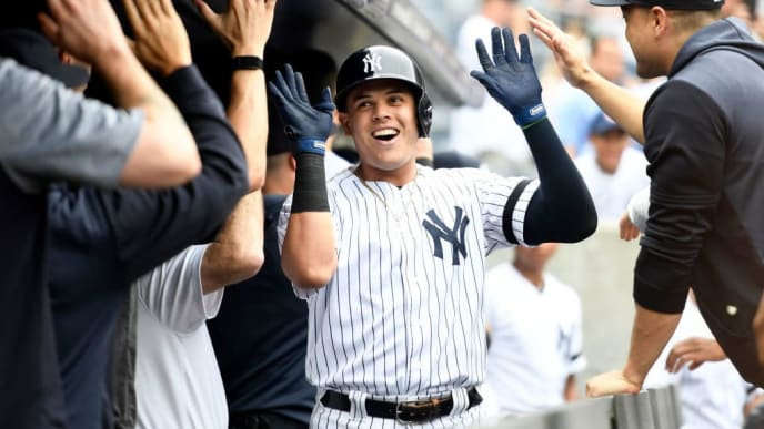 NEW YORK, NEW YORK - JULY 18: Gio Urshela #29 of the New York Yankees high-fives his teammates after hitting a home run during the second inning of game one of a doubleheader against the Tampa Bay Rays at Yankee Stadium on July 18, 2019 in the Bronx borough of New York City. (Photo by Sarah Stier/Getty Images)