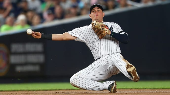 NEW YORK, NEW YORK - JULY 15:  Gio Urshela #29 of the New York Yankees fields an infield single off the bat of Willy Adames #1 of the Tampa Bay Rays in the seventh inning at Yankee Stadium on July 15, 2019 in New York City. (Photo by Mike Stobe/Getty Images)