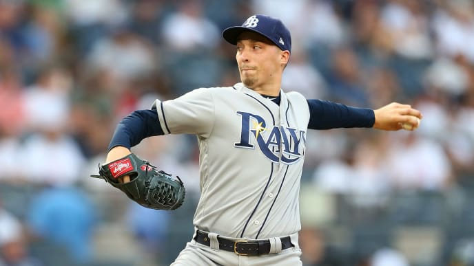 NEW YORK, NEW YORK - JULY 15:  Blake Snell #4 of the Tampa Bay Rays pitches in the first inning against the New York Yankees at Yankee Stadium on July 15, 2019 in New York City. (Photo by Mike Stobe/Getty Images)