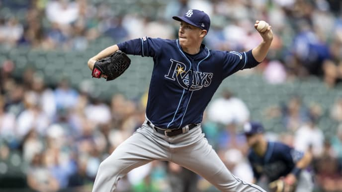 SEATTLE, WA - AUGUST 11: Starter Ryan Yarbrough #48 of the Tampa Bay Rays delivers a pitch during the first inning of a game against the Seattle Mariners at T-Mobile Park on August 11, 2019 in Seattle, Washington. (Photo by Stephen Brashear/Getty Images)