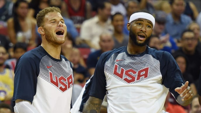LAS VEGAS, NV - AUGUST 13:  Blake Griffin #44 and DeMarcus Cousins #36 of the 2015 USA Basketball Men's National Team react on the bench during a USA Basketball showcase at the Thomas & Mack Center on August 13, 2015 in Las Vegas, Nevada.  (Photo by Ethan Miller/Getty Images)