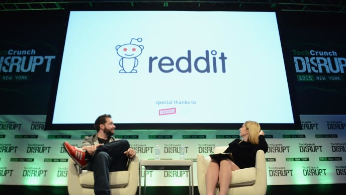 NEW YORK, NY - MAY 06:  Co-Founder and Executive Chair of Reddit, and Partner at Y Combinator, Alexis Ohanian (L) and co-editor at TechCrunch, Alexia Tsotsis appear onstage during TechCrunch Disrupt NY 2015 - Day 3 at The Manhattan Center on May 6, 2015 in New York City.  (Photo by Noam Galai/Getty Images for TechCrunch)
