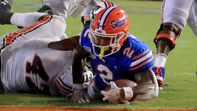 GAINESVILLE, FLORIDA - SEPTEMBER 07: Lamical Perine #2 of the Florida Gators crosses the goal line for a touchdown during the game against the Tennessee Martin Skyhawks at Ben Hill Griffin Stadium on September 07, 2019 in Gainesville, Florida. (Photo by Sam Greenwood/Getty Images)