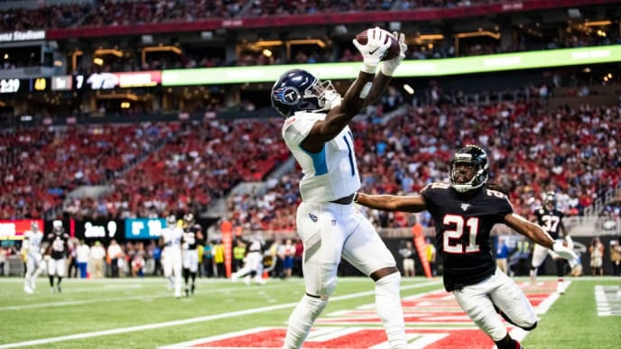 ATLANTA, GA - SEPTEMBER 29: A.J. Brown #11 of the Tennessee Titans makes a reception for a touchdown in front of Desmond Trufant #21 of the Atlanta Falcons during the first half of a game at Mercedes-Benz Stadium on September 29, 2019 in Atlanta, Georgia. (Photo by Carmen Mandato/Getty Images)