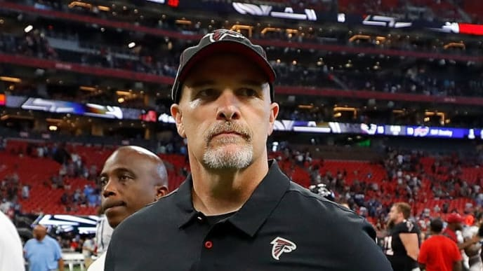 ATLANTA, GEORGIA - SEPTEMBER 29:   Head coach Dan Quinn of the Atlanta Falcons walks off the field after their 24-10 loss to the Tennessee Titans at Mercedes-Benz Stadium on September 29, 2019 in Atlanta, Georgia. (Photo by Kevin C. Cox/Getty Images)