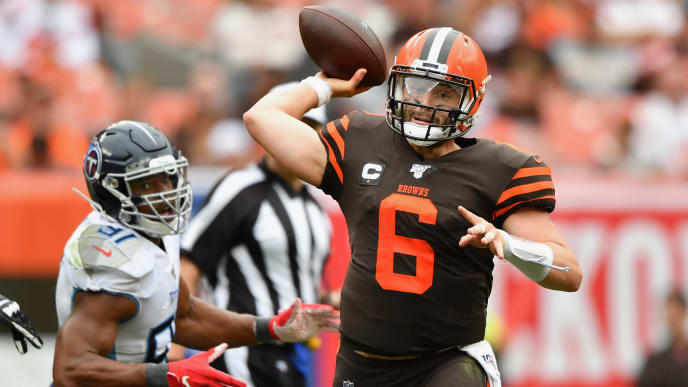 CLEVELAND, OH - SEPTEMBER 08:  Quarterback Baker Mayfield #6 of the Cleveland Browns throws in the fourth quarter against the Tennessee Titans at FirstEnergy Stadium on September 08, 2019 in Cleveland, Ohio. Tennessee defeated Cleveland 43-13.  (Photo by Jamie Sabau/Getty Images)