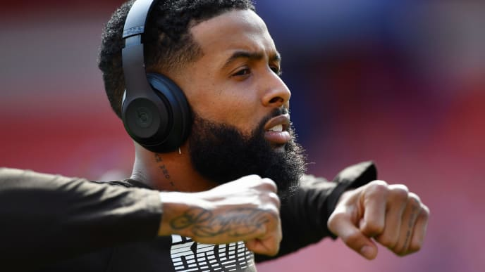 CLEVELAND, OH - SEPTEMBER 08:  Odell Beckham Jr. #13 of the Cleveland Browns warms up on the field before a game against the Tennessee Titans at FirstEnergy Stadium on September 08, 2019 in Cleveland, Ohio . (Photo by Jamie Sabau/Getty Images)
