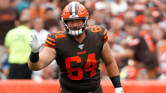 CLEVELAND, OH - SEPTEMBER 8:  JC Tretter #64 of the Cleveland Browns lines up for a play during the game against the Tennessee Titans at FirstEnergy Stadium on September 8, 2019 in Cleveland, Ohio. Tennessee defeated Cleveland 43-13. (Photo by Kirk Irwin/Getty Images)