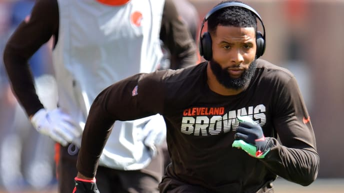 CLEVELAND, OHIO - SEPTEMBER 08: Wide receiver Odell Beckham #13 of the Cleveland Browns warms up before playing against the Tennessee Titans in the game at FirstEnergy Stadium on September 08, 2019 in Cleveland, Ohio. (Photo by Jason Miller/Getty Images)