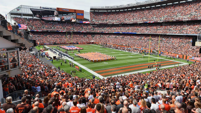 CLEVELAND, OH - SEPTEMBER 08:  A general view during the U.S. National Anthem before a game between the Cleveland Browns and the Tennessee Titans at FirstEnergy Stadium on September 08, 2019 in Cleveland, Ohio . (Photo by Jamie Sabau/Getty Images)
