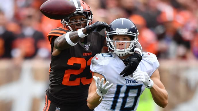 CLEVELAND, OH - SEPTEMBER 08:  Damarious Randall #23 of the Cleveland Browns leans in to break up a first quarter pass intended for Adam Humphries #10 of the Tennessee Titans at FirstEnergy Stadium on September 08, 2019 in Cleveland, Ohio . (Photo by Jamie Sabau/Getty Images)