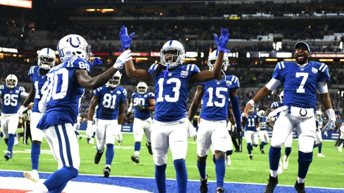INDIANAPOLIS, INDIANA - NOVEMBER 18: The Indianapolis Colts celebrate after a touchdown in the game against the Tennessee Titans in the third quarter at Lucas Oil Stadium on November 18, 2018 in Indianapolis, Indiana. (Photo by Bobby Ellis/Getty Images)