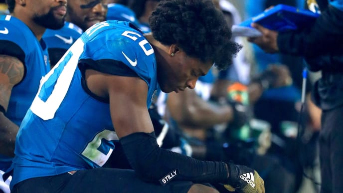 JACKSONVILLE, FLORIDA - SEPTEMBER 19: Jalen Ramsey #20 of the Jacksonville Jaguars looks on during a game against the Tennessee Titans at TIAA Bank Field on September 19, 2019 in Jacksonville, Florida. (Photo by Mike Ehrmann/Getty Images)