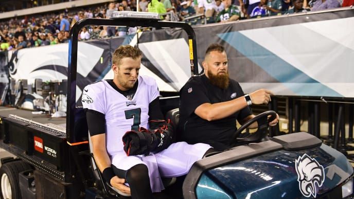 PHILADELPHIA, PA - AUGUST 08: Nate Sudfeld #7 of the Philadelphia Eagles leaves the game at the half after being injured during the second quarter of a preseason game at Lincoln Financial Field on August 8, 2019 in Philadelphia, Pennsylvania. (Photo by Corey Perrine/Getty Images)