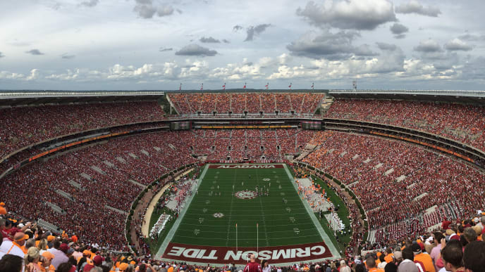 TUSCALOOSA, AL - OCTOBER 24:  (EDITORS NOTE: Image was created with a smartphone.)  A general, panoramic view of Bryant-Denny Stadium during the game between the Alabama Crimson Tide and the Tennessee Volunteers on October 24, 2015 in Tuscaloosa, Alabama.  (Photo by Kevin C. Cox/Getty Images)