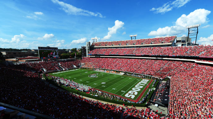 ATHENS, GA - SEPTEMBER 29: A general view of Sanford Stadium  during the game between the Georgia Bulldogs and the Tennessee Volunteers on September 29, 2018 in Athens, Georgia. (Photo by Scott Cunningham/Getty Images)
