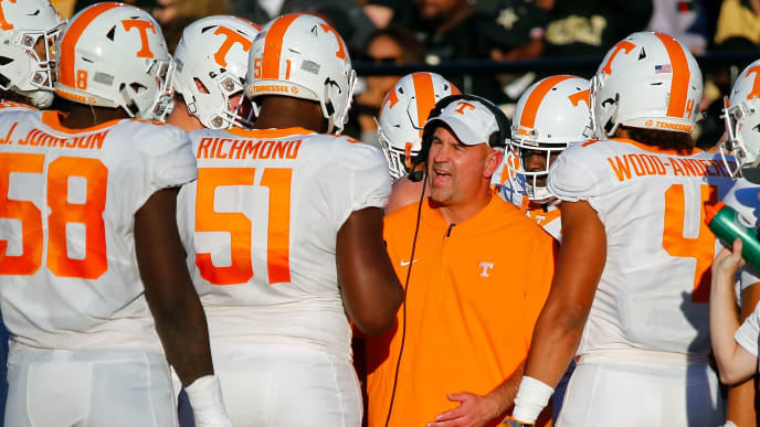 NASHVILLE, TN - NOVEMBER 24:  Head coach Jeremy Pruitt of the Tennessee Volunteers coaches during the first half of a game against the Vanderbilt Commodores at Vanderbilt Stadium on November 24, 2018 in Nashville, Tennessee.  (Photo by Frederick Breedon/Getty Images)
