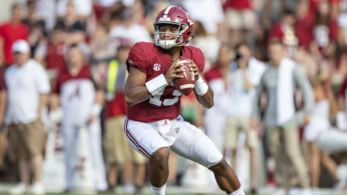 TUSCALOOSA, AL - SEPTEMBER 22:  Tua Tagovailoa #13 of the Alabama Crimson Tide drops back to pass during a game against the Texas A&M Aggies at Bryant-Denny Stadium on September 22, 2018 in Tuscaloosa, Alabama.  The Crimson Tide defeated the Aggies 45-23.  (Photo by Wesley Hitt/Getty Images)