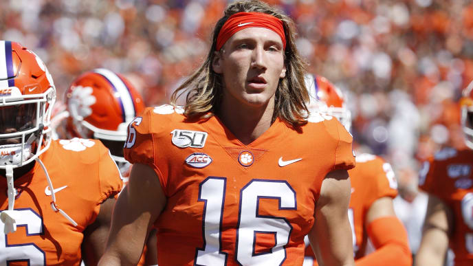 CLEMSON, SC - SEPTEMBER 07: Trevor Lawrence #16 of the Clemson Tigers looks on during a game against the Texas A&M Aggies at Memorial Stadium on September 7, 2019 in Clemson, South Carolina. Clemson defeated Texas A&M 24-10. (Photo by Joe Robbins/Getty Images)