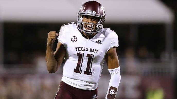 STARKVILLE, MS - OCTOBER 27: Kellen Mond #11 of the Texas A&M Aggies celebrates after throwing for a touchdown during the first half against the Mississippi State Bulldogs at Davis Wade Stadium on October 27, 2018 in Starkville, Mississippi.  (Photo by Jonathan Bachman/Getty Images)