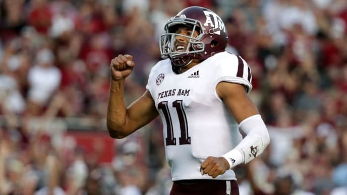 COLUMBIA, SC - OCTOBER 13:  Kellen Mond #11 of the Texas A&M Aggies reacts after a touchdown against the South Carolina Gamecocks during their game at Williams-Brice Stadium on October 13, 2018 in Columbia, South Carolina.  (Photo by Streeter Lecka/Getty Images)