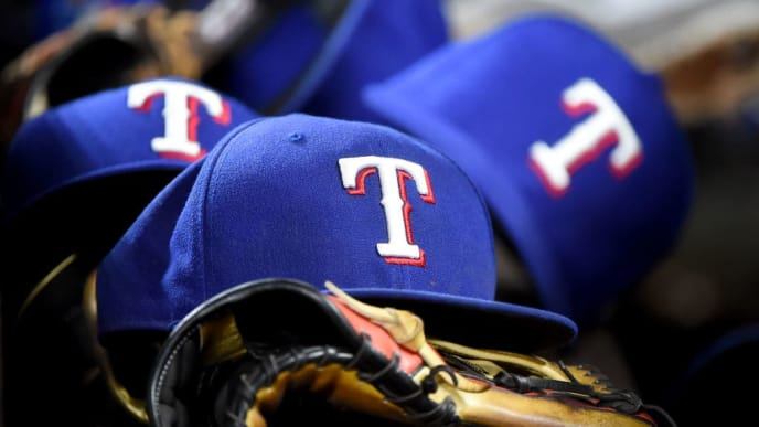 BALTIMORE, MD - SEPTEMBER 06: A detailed view of Texas Rangers baseball hats during the game against the Baltimore Orioles at Oriole Park at Camden Yards on September 6, 2019 in Baltimore, Maryland. (Photo by Will Newton/Getty Images)