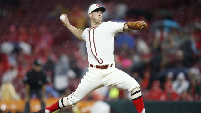 CINCINNATI, OH - JUNE 15: Michael Lorenzen #21 of the Cincinnati Reds pitches in the ninth inning against the Texas Rangers at Great American Ball Park on June 15, 2019 in Cincinnati, Ohio. The Rangers won 4-3. (Photo by Joe Robbins/Getty Images)