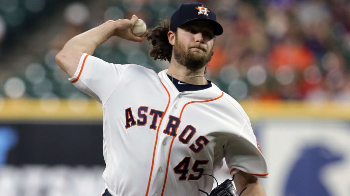 HOUSTON, TEXAS - SEPTEMBER 18: Gerrit Cole #45 of the Houston Astros pitches in the first inning against the Texas Rangers at Minute Maid Park on September 18, 2019 in Houston, Texas. (Photo by Bob Levey/Getty Images)