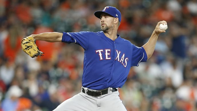 HOUSTON, TX - JULY 29:  Mike Minor #36 of the Texas Rangers pitches in the first inning against the Houston Astros at Minute Maid Park on July 29, 2018 in Houston, Texas.  (Photo by Bob Levey/Getty Images)