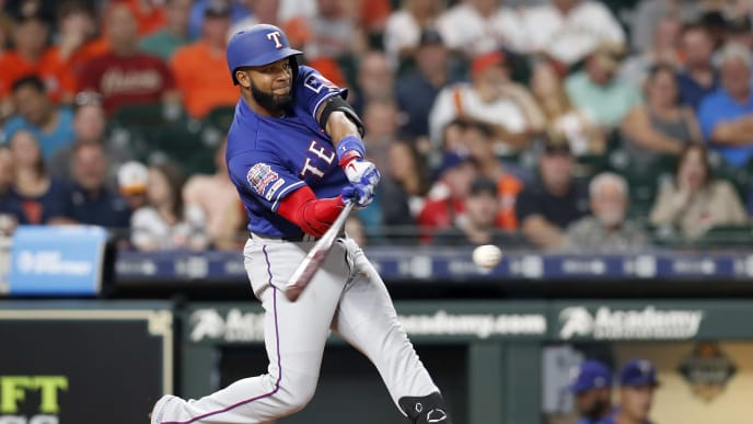 HOUSTON, TX - MAY 10:  Elvis Andrus #1 of the Texas Rangers grounds out in the sixth inning against the Houston Astros at Minute Maid Park on May 10, 2019 in Houston, Texas.  (Photo by Tim Warner/Getty Images)