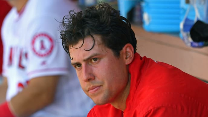 ANAHEIM, CA - JUNE 03:  Tyler Skaggs #45 of the Los Angeles Angels of Anaheim sits in the dugout after the sixth inning of the game against the Texas Rangers at Angel Stadium on June 3, 2018 in Anaheim, California.  (Photo by Jayne Kamin-Oncea/Getty Images)