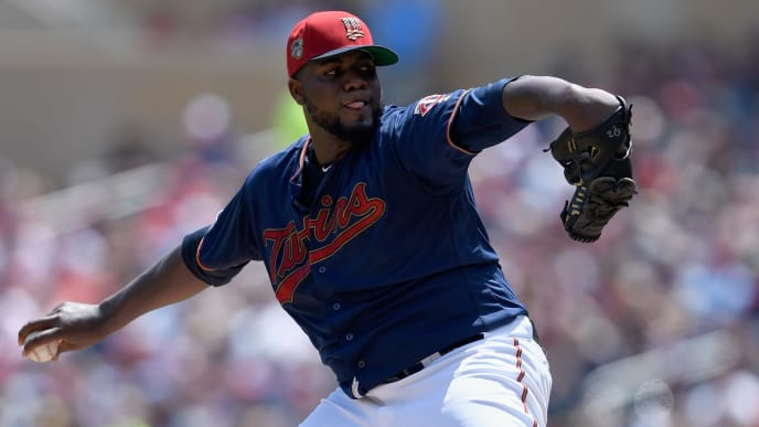 MINNEAPOLIS, MN - JULY 06: Michael Pineda #35 of the Minnesota Twins delivers a pitch against the Texas Rangers during the second inning of the game on July 6, 2019 at Target Field in Minneapolis, Minnesota. (Photo by Hannah Foslien/Getty Images)