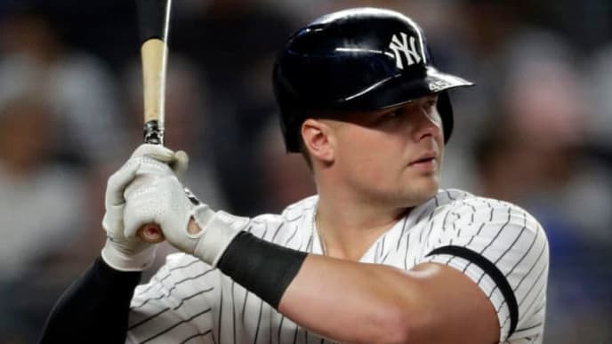 NEW YORK, NY - SEPTEMBER 03: Luke Voit #45 of the New York Yankees at bat against the Texas Rangers during the fifth inning at Yankee Stadium on September 3, 2019 in the Bronx borough of New York City. (Photo by Adam Hunger/Getty Images)