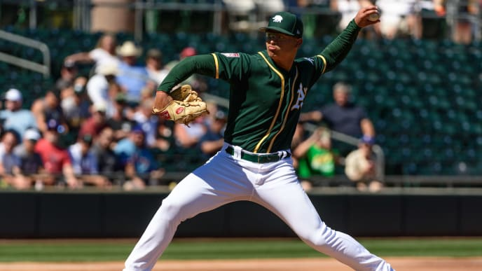 MESA, ARIZONA - MARCH 05: Jesus Luzardo #44 of the Oakland Athletics delivers a pitch during the spring training game against the Texas Rangers at HoHoKam Stadium on March 05, 2019 in Mesa, Arizona. (Photo by Jennifer Stewart/Getty Images)